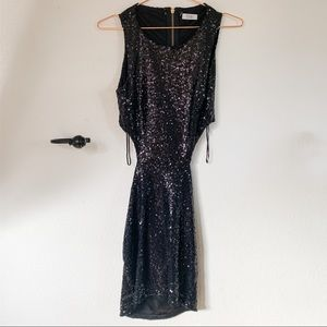 TOBI Black Sequin Mini Dress with Cut Outs Size S